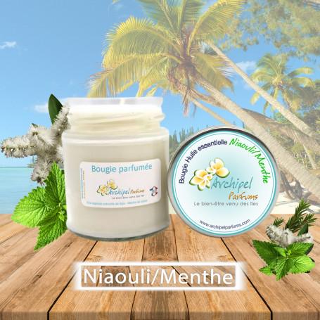 Bougie huile essentielle Niaouli et Menthe Poivrée